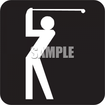 Golfing Icon Showing a Figure Using a Golf Club for a Shot