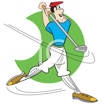 Cartoon of a Quirky Guy Playing Golf