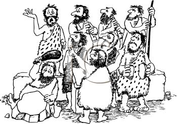 Black and White Cartoon of a Bunch of Cavemen in a Band