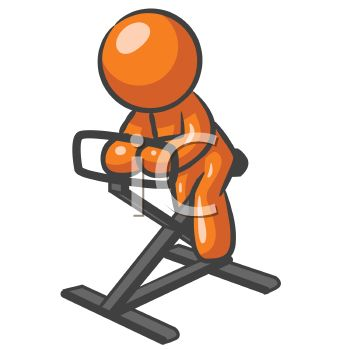 Orange Man Character Using a Stationary Bike at a Health Club