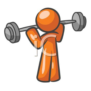 Orange Man Character Lifting Weights at a Gym