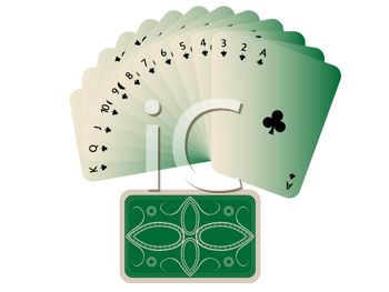 Suit of Clubs Cards Spread Out in a Fan