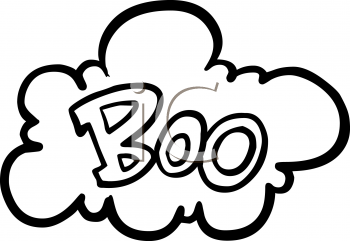 Halloween Graphic Design Element of a Cloud with the Word Boo