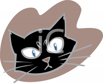 Halloween Graphic Design Element of a Black Cat Face