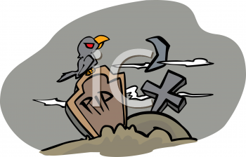 Halloween Graphic Design Element of a Crow Sitting on a Headstone