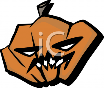 Halloween Graphic Design Element of a Wicked Looking Pumpkin