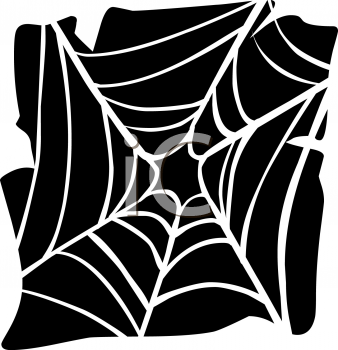 Halloween Graphic Design Element of a Black and White Spider Web