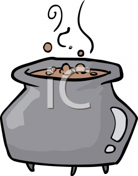 Halloween Graphic Design Element of a Bubbling Cauldron