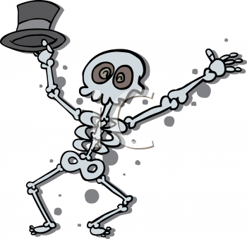 Halloween Graphic of a Dancing Skeleton Holding a Hat