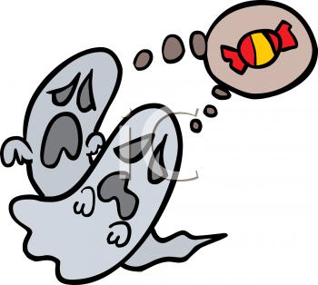 Halloween Graphic of Two Ghosts Dreaming of Candy