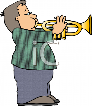 Chubby Kid Playing a Trumpet