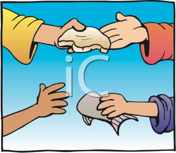 People Handing Loaves and Fishes to Each Other in a Religious Cartoon