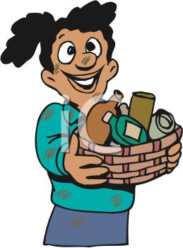 Girl Giving a Basket of Household Items to Charity