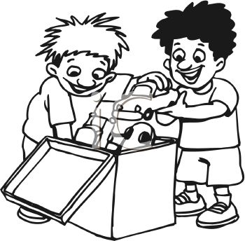 Black and white cartoon of two little boys sharing toys in a toy box