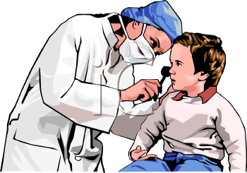 Realistic Woman Doctor Examining a Toddler's Ears