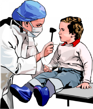 Realistic Woman Doctor Examining a Child's Eyes