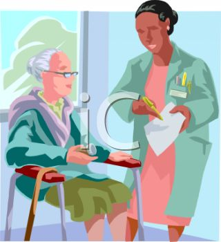 African American Female Doctor Talking to an Elderly Patient at a Nursing Home