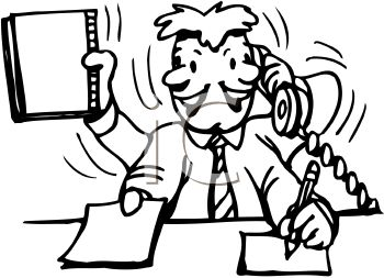 desk clipart black and white. Black And White Cartoon Of A Businessman Multi-Tasking At His Desk - Royalty Free Clipart Picture E