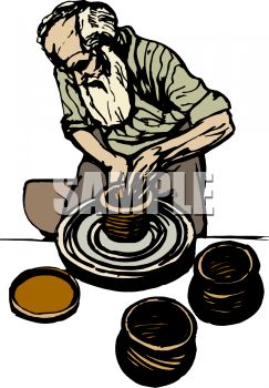 Old Man Potter Making Clay Pots - Royalty Free Clipart Image