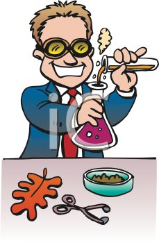 Art image cartoon of a chemist or science teacher doing an experiment