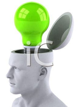 3D Logo of a Human Head with a Light Bulb Depicting an Idea or Thought