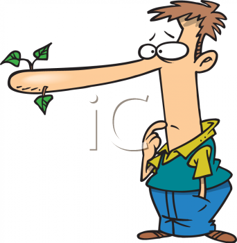 Cartoon of a Liar with His Nose Growing