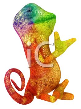 Bright Colorful 3D Chameleon