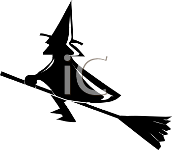 Silhouette of a Witch on Her Broom