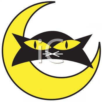 Black Cat with Yellow Eyes and a Half Moon