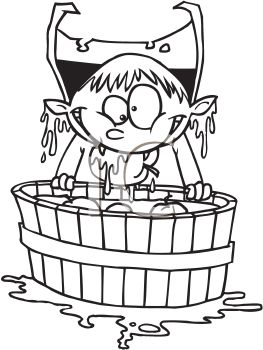 Black and White Cartoon of a Boy Dressed Like a Vampire Bobbing for Apples
