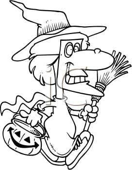 Black and White Cartoon of a Girl Dressed in a Witch Costume Trick or Treating