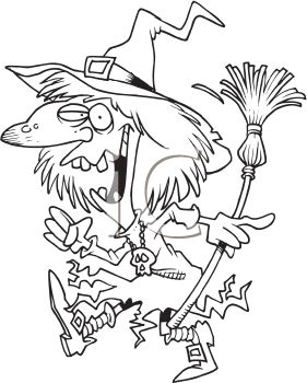 Black and White Cartoon of a Crazy Witch
