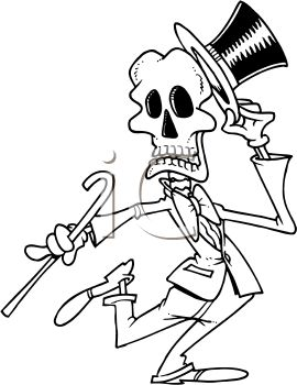 Black and White Halloween Cartoon of a Dancing Skeleton with a Top Hat