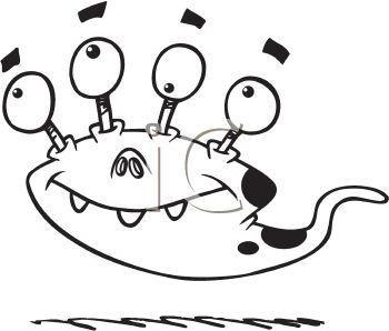 Royalty Free Clip Art Image Black And White Halloween Cartoon Of A Monster With Four Eyes