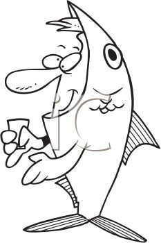 Black and White Halloween Cartoon of a Man Wearing a Fish Costume