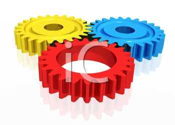 3d Gears or Cogs in Bright Colors