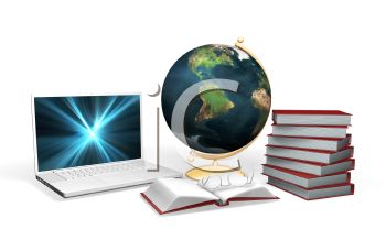 3D Educational Supplies with a Laptop, Globe and Text Books