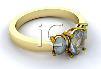 3D Render of a Gold Engagement Ring with Diamonds