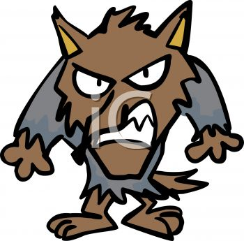 Cartoon of a Snarling Werewolf