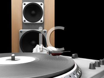 3D Turntable with a Speaker in Close Up
