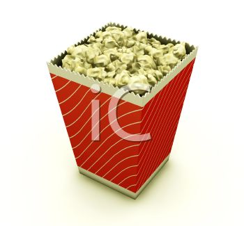 3D Box of Buttered Popcorn Snack