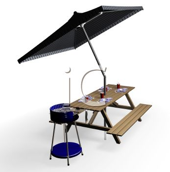 3D Picnic Table with Umbrella and a Grill