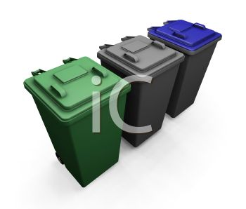 3D Garbage Bins with Lids and Wheels - Royalty Free Clip Art Picture
