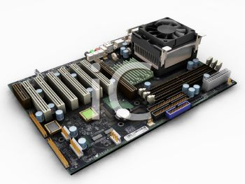 3D Render of a Computer Motherboard and Ram Sticks