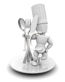 3D Chef Holding Cutlery Icon