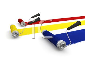 Realistic Paint Roller Making Stripes of Red Blue and Yellow