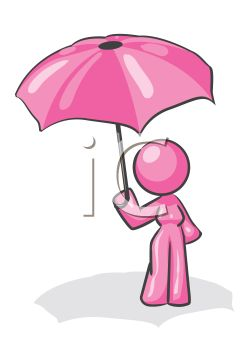 Pink Female Character Holding an Umbrella