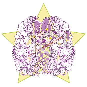 Court Jester Design with a Star and Floral Accent