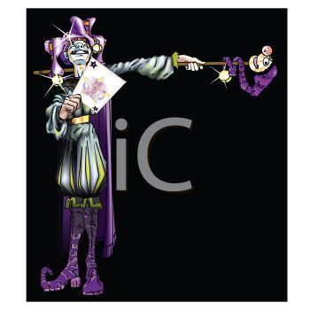 Purple and Silver Joker or Jester for Mardi Gras