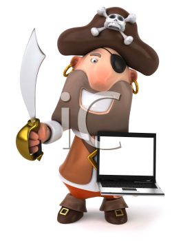 3D Pirate Holding a Laptop and a Sabre